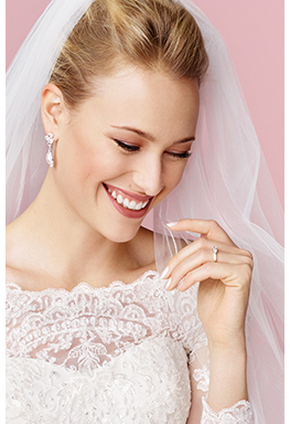 Bride close up with lace sleeves and veil