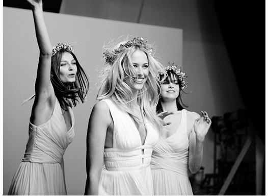 Wedding dress models behind the scenes