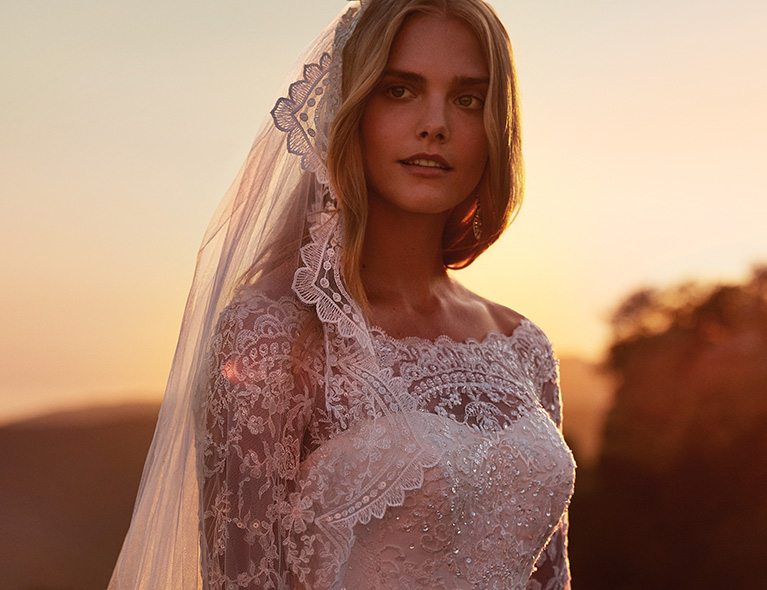 Bride with Lace Veil and Dress