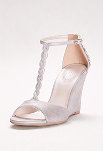 Braided T-Strap Wedges with Crystals