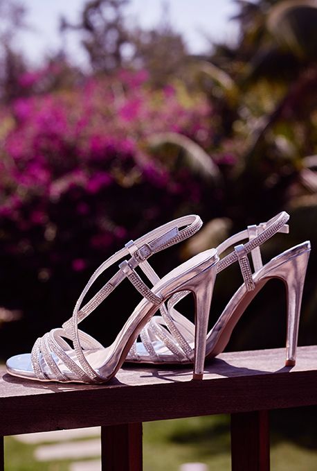 Pair of silver high heel shoes