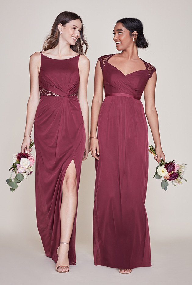 Two Bridesmaids Mismatched in Wine