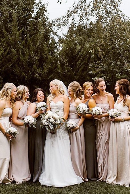 Mismatched Bridal Party in Neutral Colours