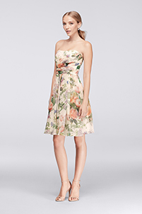 Short Strapless Printed Crinkle Chiffon Dress