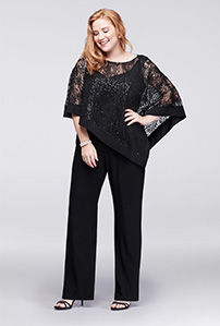 Black Sequin Mother of the Bride Pantsuit