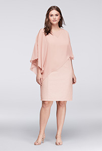 Blush Shift with Chiffon Cape Mother of the Bride Dress
