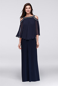 Navy Cold Shoulder Capelet Mother of the Bride Dress