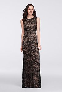 Black and Nude Sleeveless Sequin Lace Mother of the Bride dress