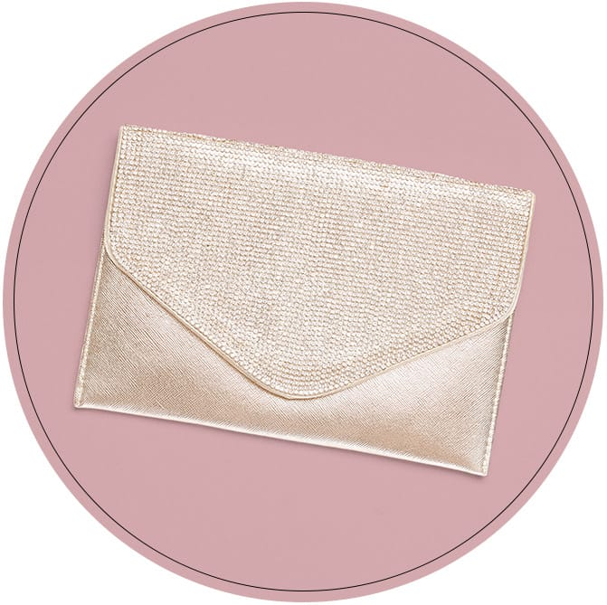 Shiny gold envelope clutch